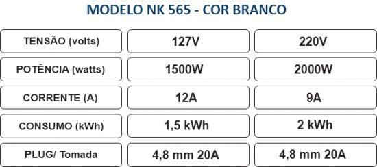 Especificações - Aquecedor NK 565